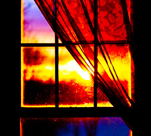Autumn Sunrise Through a Window